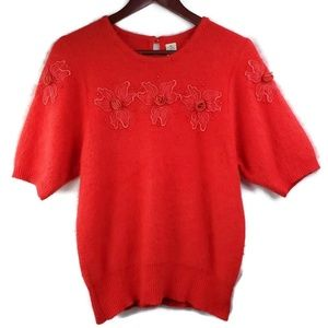 Sweaters - Vintage Red Angora Sweater Rockabilly Pinup